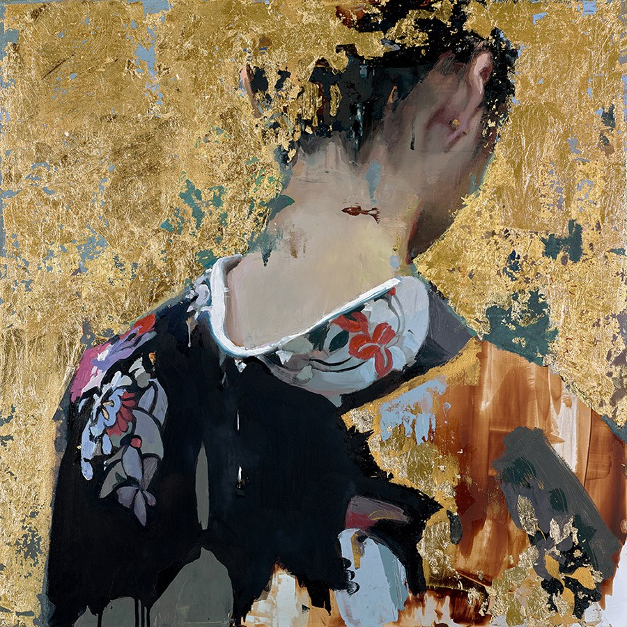 Black Kimono by Christian Hook - Limited Edition Paper on Board sized 14x14 inches. Available from Whitewall Galleries